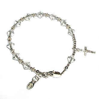 Girls Rosary Bracelet Sterling Silver Childrens Jewelry, This Beautiful Sterling Silver Rosary Bracelet Accented with Sparkling Crystals Is Perfect for First Communion and Features a Gorgeous Crystal Silver Cross. Wonderful Treasured Keepsake!