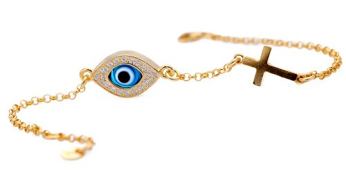 Celebrity Evil Eye Cross Bracelet  Diamond Simulated