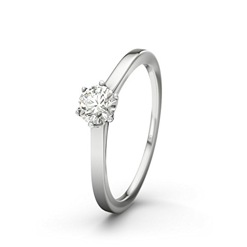 21DIAMONDS Women's Ring St Lucia 0.3 Ct Brilliant Cut Diamond Engagement Ring - Silver Engagement Ring