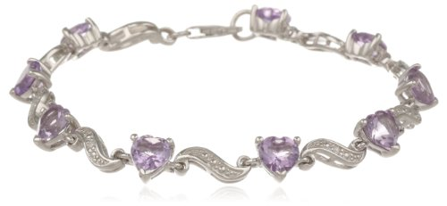 Sterling Silver Amethyst and Diamond Bracelet (0.02 cttw, H-I Color, I2-I3 Clarity), 7″