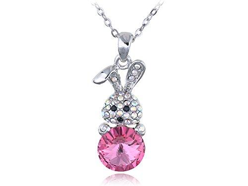 Rose Color Egg Cute Bunny Easter Present Swarovski Crystal Element Necklace