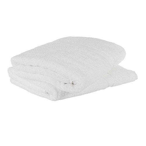 Cheer Collection Set of 2 Oversized Plush Cotton Luxurious White Bath Sheets (36 inches x 70 inches) 650 GSM for Maximum Thickness Softness and Absorbency (Extra Large Bath Sheets compare prices)