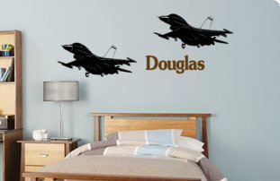 Personalized jet fighters--Big 61 X 22 inch sticker--sold by aluckyhorseshoe