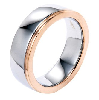6MM Plain Polished Stainless Steel Wedding Band Ring With One Rose Plated Edge