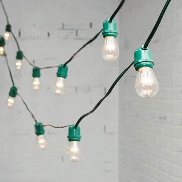 Commercial Led Edison String Lights, 100 Ft Green Wire, S14 Bulb, Warm White