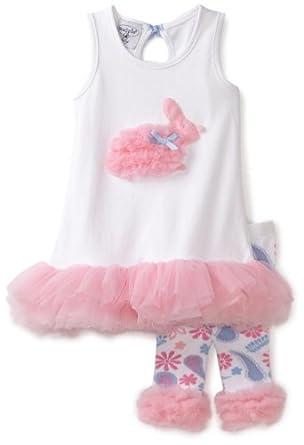 (新品)Mud Pie 泥巴派 超可爱 小公主套装Infant Bunny Tunic and Legging,仅$25.43