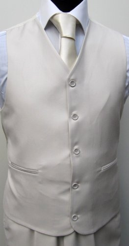 MUGA 2-Button mens Suit + Waistcoat, Cream Beige, size 36R (EU 46)