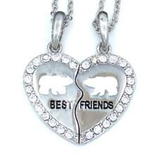 New Best Friend Polar Bear Heart Silver Tone 2 Pendants Necklace Bff Friendship