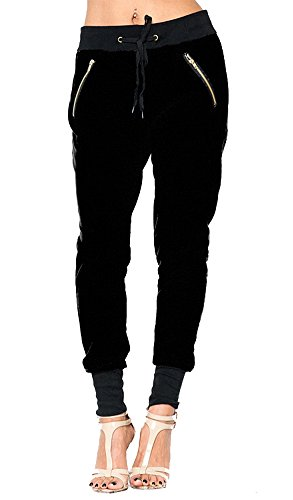 Women's Trendy Solid Color Zipper Pockets Cuffed Jogger Pants (Medium/Large, Black)