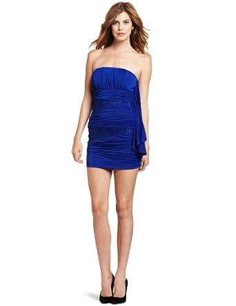 XOXO Juniors Lace Inset Ruffle Side Tube Dress, Blue, Large