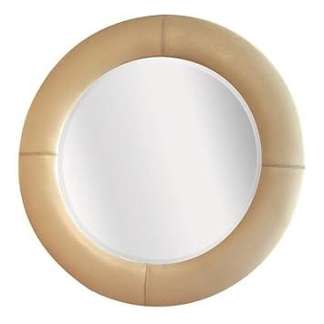 Grand miroir circulaire faux cuir cuir cr me 105cm dia for Miroir circulaire