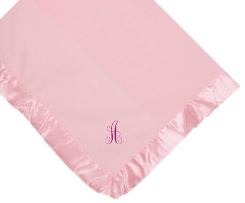 Custom Embroidered Pink Fleece Monogrammed Personalized Baby Blanket Yellow Thread front-400168