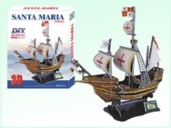 31xntZznroL Buy  Santa Maria Ship Christopher Columbus 3 D Model Puzzle Kit