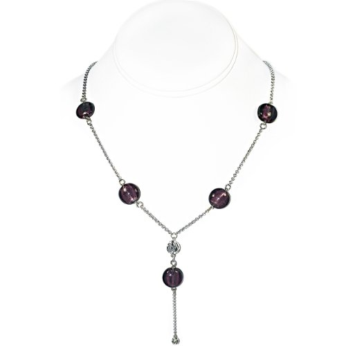 925 Sterling Silver Necklace with Purple Glass and Sterling Silver Beads