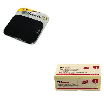 KITFEL58024UNV35668 - Value Kit - Fellowes Polyester Mouse Pad (FEL58024) and Universal Standard Self-Stick Notes (UNV35668) kitmmmc214pnkunv10200 value kit scotch expressions magic tape mmmc214pnk and universal small binder clips unv10200
