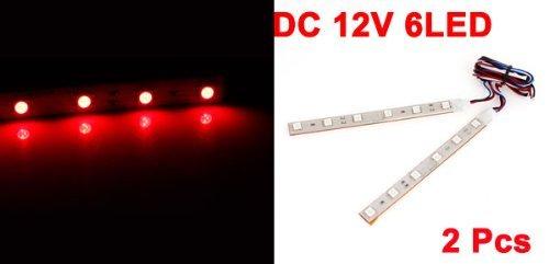 2 Pcs 13cm Ruban adhésif 6 Rouge 5050 SMD LED voiture décoratifs Lampe Strap
