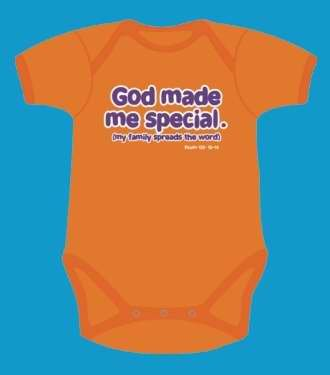 Baby-Onesie-God Made Me Special-Orange-6/12 Mo front-160027