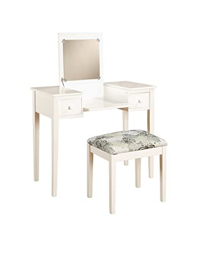 Linon Home Décor Vanity Set with Butterfly Bench, White