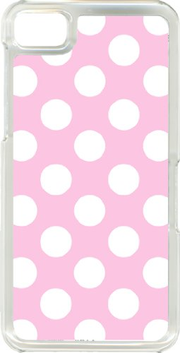 Different Color Big Polka Dots Designs On Blackberry Z10 Tpu Clear Hard Case Cover (Baby Pink And White Dots)