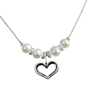 925 Silver Purity Open Heart Pendant with Simulated Pearls Necklace 21cm Chain