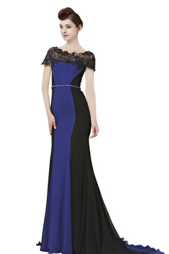 CharliesBridal Black & Blue Mermaid Bateau Neck Sweep Train Evening Dress with Cap Sleeve & Matching Shawl - M - Black & Blue