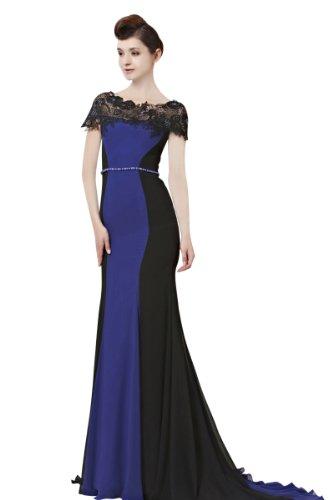 CharliesBridal Black & Blue Mermaid Bateau Neck Sweep Train Evening Dress with Cap Sleeve & Matching Shawl - M - Black & Blue