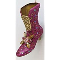 December Diamonds Hot Pink & Gold High Heel Boot Ornament -Glittered & Jeweled 4 inch Ornament...Ready to Hang on a Gold Cord.Beautiful!!!