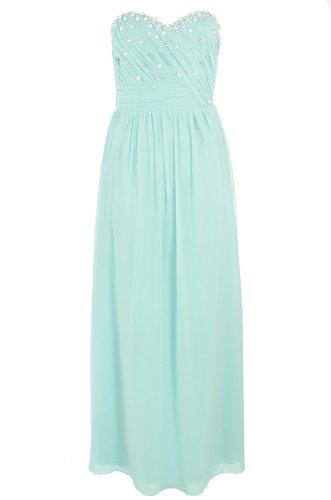 Aqua And Silver Chiffon Maxi Dress picture