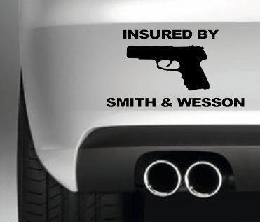 insured-by-smithwesson-car-bumper-sticker-van-gun-decal-shooting-decal-graphic