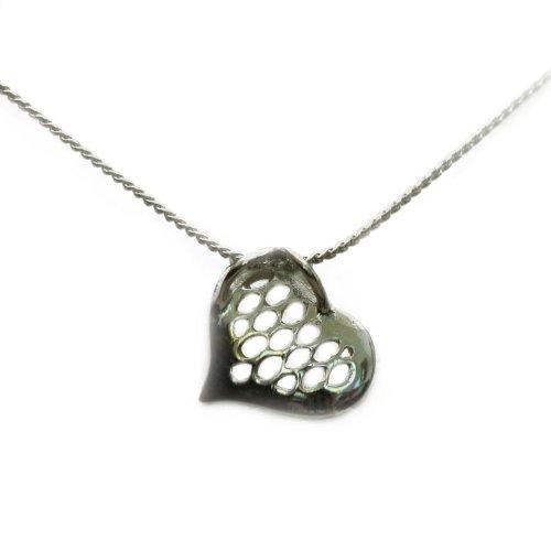 Heart Like Net Pendant in Silver Chain