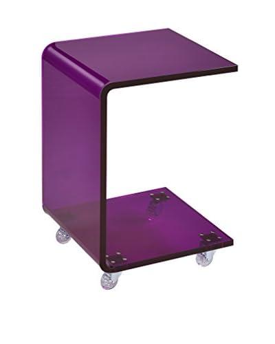 Fox Hill Trading Pure Décor Acrylic C-Shape Accent Table, Purple