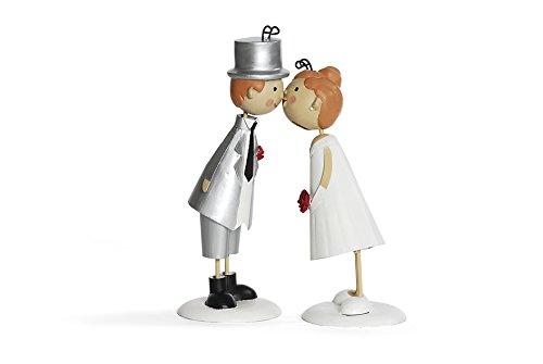 Jullar BIS 9947 Knutschis Brautpaar Hochzeit Figur Deko, Metall, 14 x 8 x 16 cm, silber / weiß