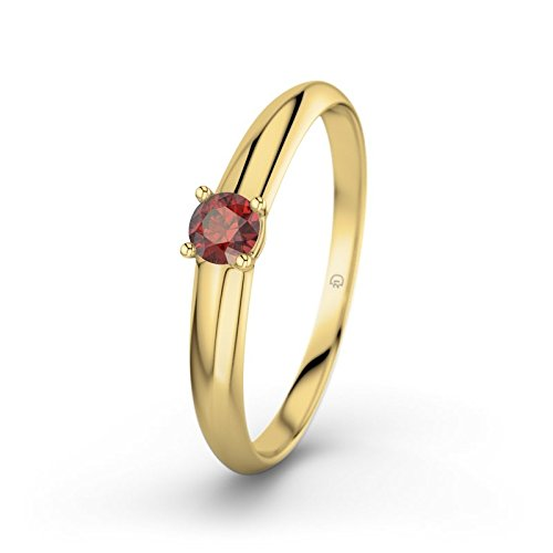 21DIAMONDS Ulrike Garnet Brilliant Cut Women's Ring 14 Carat (585) Yellow Gold Engagement Ring