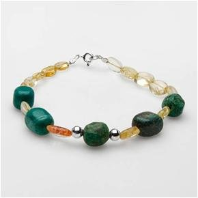 Attractive Brand New Bracelet With 46.80ctw Precious Stones - Genuine Citrines and Jaspers Made in 925 Sterling silver