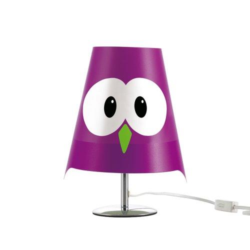 Violet Owl Metal Table Lamp