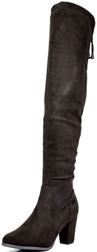 DREAM PAIRS HIGHLEG Women's Thigh High Fashion Over The Knee Drawstring Strech Block Mid Heel Boots BROWN-SZ-7 (Brown Boots With Ties compare prices)