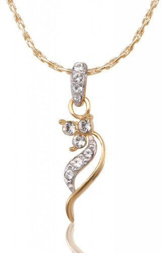 Lifestyle Infinity Lifestyle Gold Plated Clear Crystal Floral Necklace For Women (751474G) (Transperant)