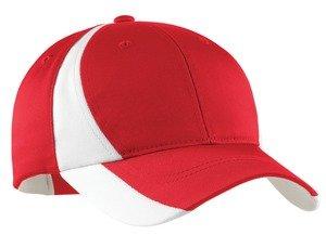 Sport-Tek Sport-Tek, Dry Zone; Nylon Colorblock Cap, True Red/White, Osfa front-1037400
