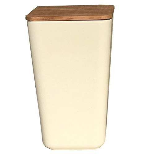 Clean Dezign Bamboo Fiber Canister Storage Jar with Airtight Bamboo Lid 44oz. (1-piece Large White) (Colored Trash Can With Lid compare prices)