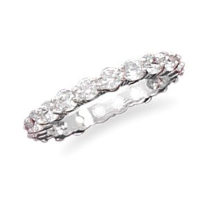 Sterling Silver Cz Eternity Fashion Ring Size 5