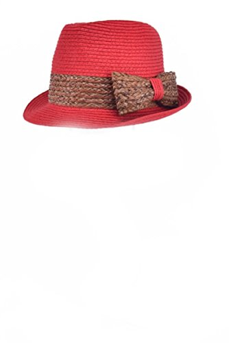 One Size Fits Most Belted Rim Straw Bow Fedora Hat, Bright Red