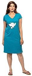 Clifton Melange Women's Long Top Nightwear-Dove -Turquiose -5XL