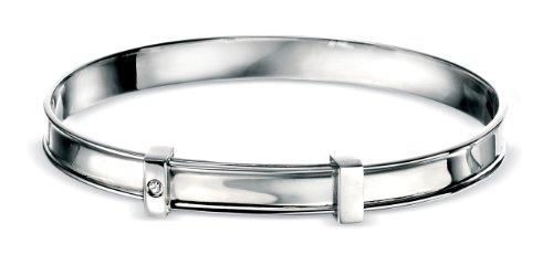 D for Diamond Silver Adjustable Bangle for Boys