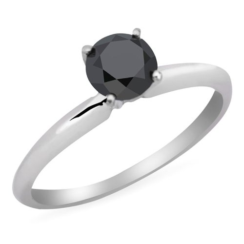 1/3 CT Black Diamond Solitaire Engagement Ring in 10K White Gold