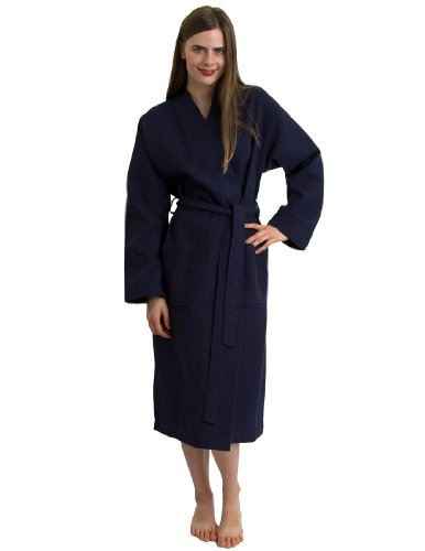 Towelselections Waffle Bathrobe - 100% Turkish Cotton Robe For Women And Men, Made In Turkey, Navy, Small/Medium front-587065
