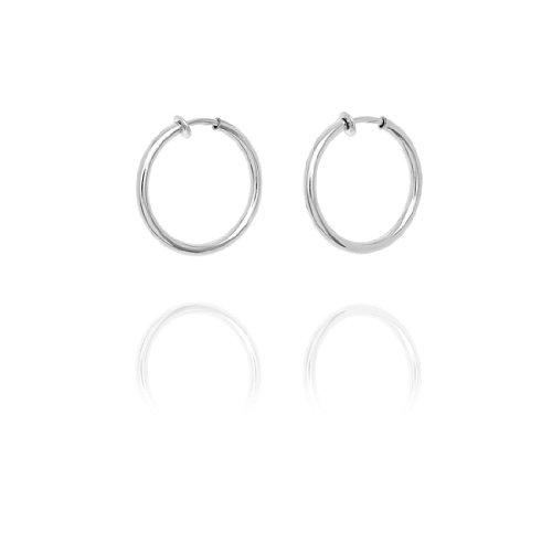 Chunky Creole Hoop Clip On Earrings - 3.2cm - Silver