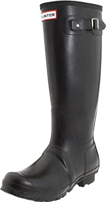 Hunter Original Tall Welly Boot,Black/Black,Women's 9 M/Men's 8 M