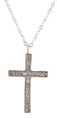 Ladies Silver Iced Out Cross Pendant with a 22 Inch Adjustable Link Chain Necklace
