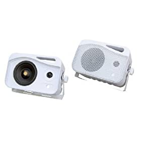 Pyle PLMR25 4'' 300 Watt 3-Way Weather Proof Mini Box Speaker System (White)