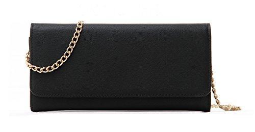 Laura Mulleavy Women's Faux Saffiano Bi-fold Cross Body Clutch Wallet, Black, Regular (Cream Clutch compare prices)